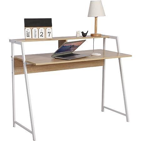 WOLTU TSG20hei Bureau d'ordinateur avec étagère Table de Bureau en Acier et Bois Table de Travail PC Table d'ordinateur Portable,112x56x90cm (LxPxH),Chêne
