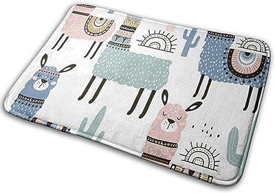 Door Mats Cute Lama Alpaca Floor Mat Indoor Outdoor Entrance Bathroom Doormat Non Slip Washable Welcome Mats Decor 23.6 x 15.7 inch