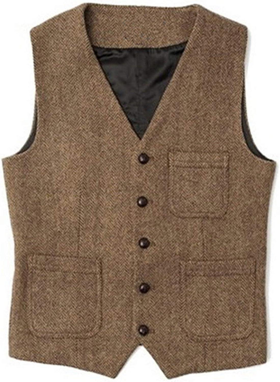 Mens Casual Wool Blends Waistcoat Vest Business Gentleman Sleeveless Jacket Tops
