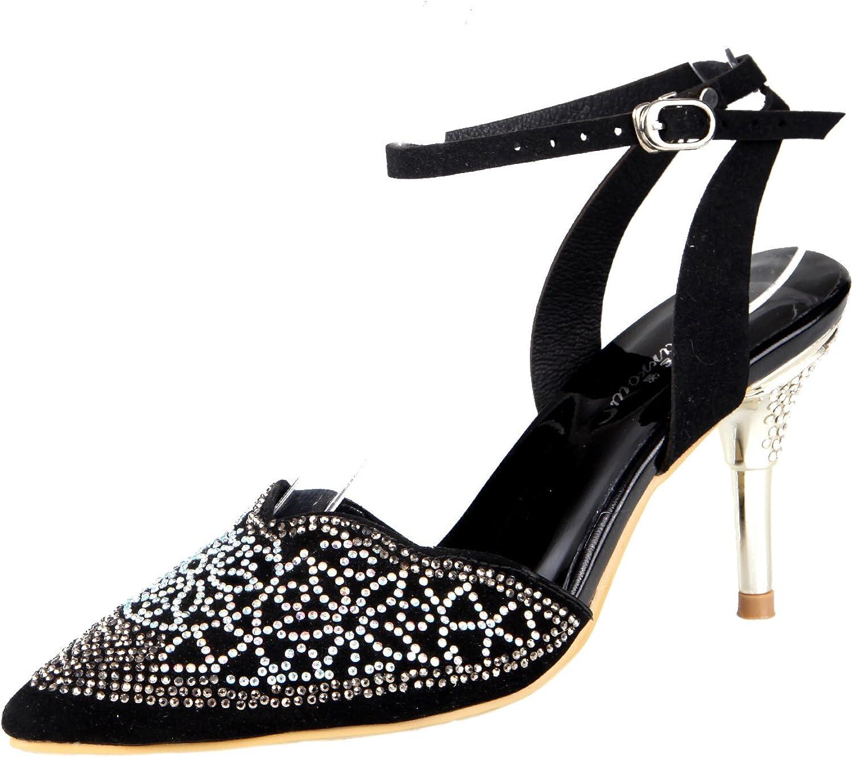 Honeystore Charming Women's Glitter Rhinestones Sandals Pump Closed-Toe shoes