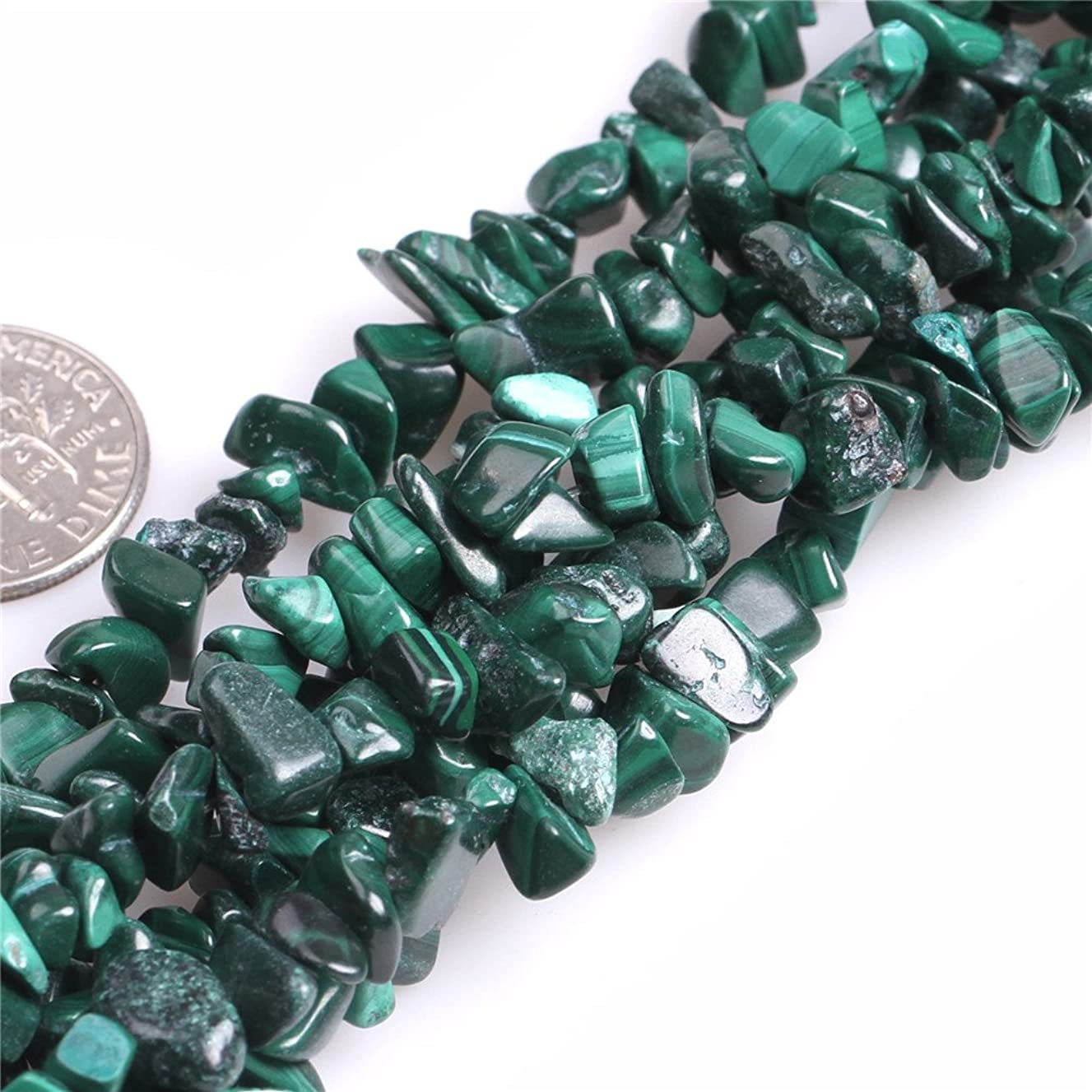 JOE FOREMAN 7-8mm Malachite Semi Precious Gemstone Chips Loose Beads for Jewelry Making DIY Handmade Craft Supplies 34