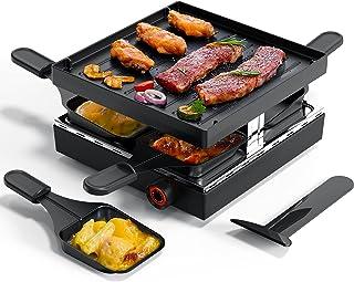 Muchen Appareil à raclette , grill avec revêtement antiadhésif et 4 mini poêlons à raclette, raclette pour 4 personnes, 75...