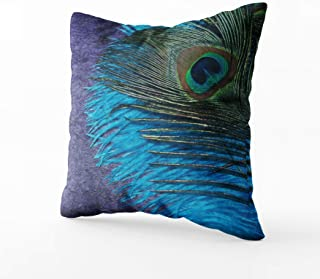 Musesh Christams Teal Peacock Cushions Case Throw Pillow Cover for Sofa Home Decorative Pillowslip Gift Ideas Household Pillowcase Zippered Pillow Covers 18X18Inch