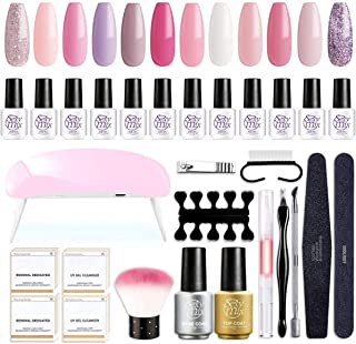 SEXY MIX Gel Nail Polish Starter Kit with UV Light, with Mini 12 Lovely Pink Colors Soak Off Gel Nail Polish, Base and Top...