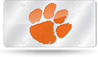 Stockdale Clemson Tigers License Plate Orange W//Mirrored Acrylic Paw