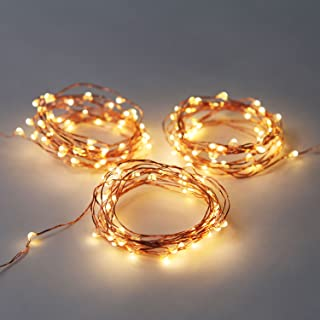 LampLust 12 ft. Copper Wire Fairy Lights with 60 Warm White LEDs, 3 Sets, Battery Operated, Water Resistant, Indoor/Outdoor Use
