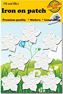 Iron On Patches -Extra Strong Glue White Flower Patch 8 pcs Iron On Patch Embroidered Applique A-200