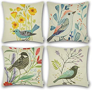 CARRIE HOME Bird Outdoor Throw Pillow Covers 18x18 Farmhouse Decorative Pillow Case Cushion Covers for Patio Furniture, Set of 4