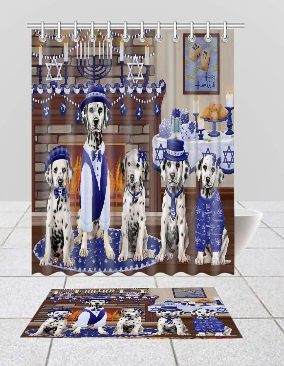Max 49% OFF Happy Hanukkah Family Dalmatian Dogs Mat Shower Overseas parallel import regular item C Curtain Bath