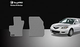 ToughPRO Floor Mats (Front Row Set) Compatible with Mazda 3 - All Weather - Heavy Duty - (Made in USA) - Gray Rubber - 2004, 2005, 2006, 2007, 2008, 2009