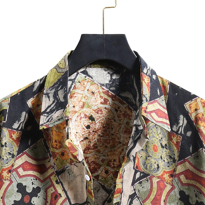 Men's Hawaiian Shirt, Men's Floral Aloha Shirts Short Sleeve Button Down Beach Shirts Beach Party Holiday Tees