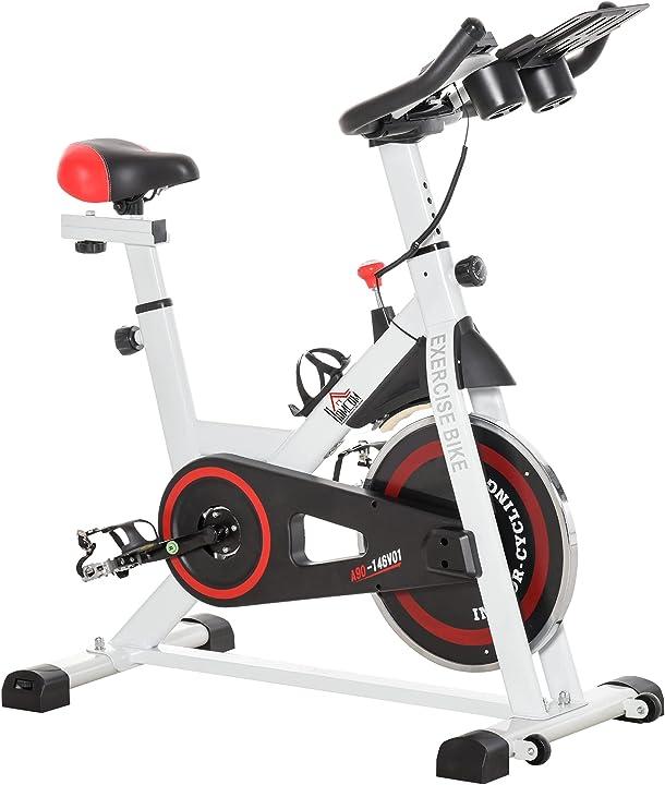 Cyclette professionale homcom regolabile con schermo lcd e portabicchieri volano 8kg bianco 631 ITA90-146V010631