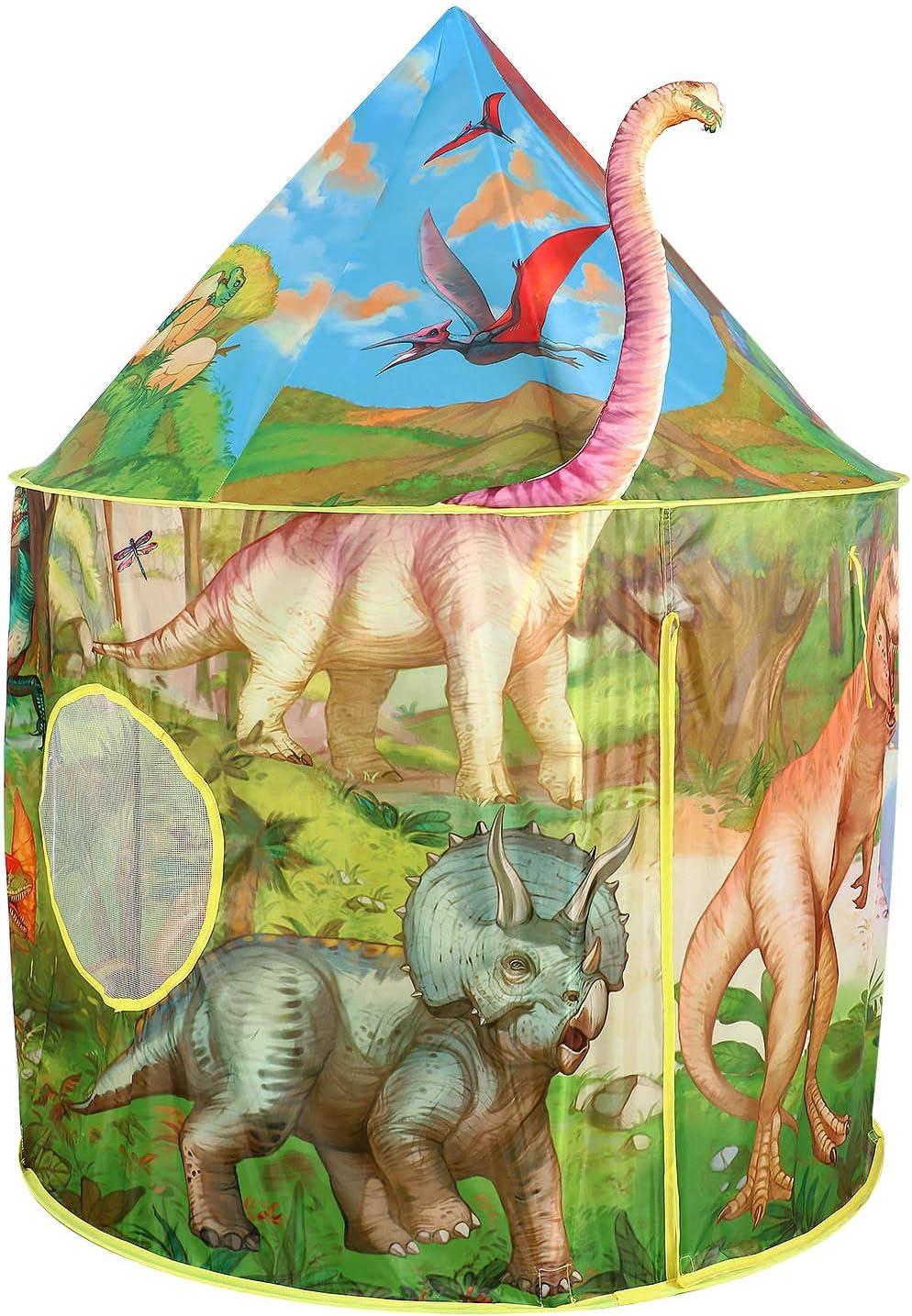 Tacobear Dinosaurio Tienda Campaña Infantil Niños Dinosaurio Carpa Infantil Niños Portátil Tienda Pop Up Casa de Juegos para Interiores y Exteriores con Bolsa de Transporte