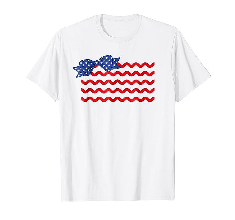 4th of July Shirt Rick Rack Hair Bow American Flag T-Shirt
