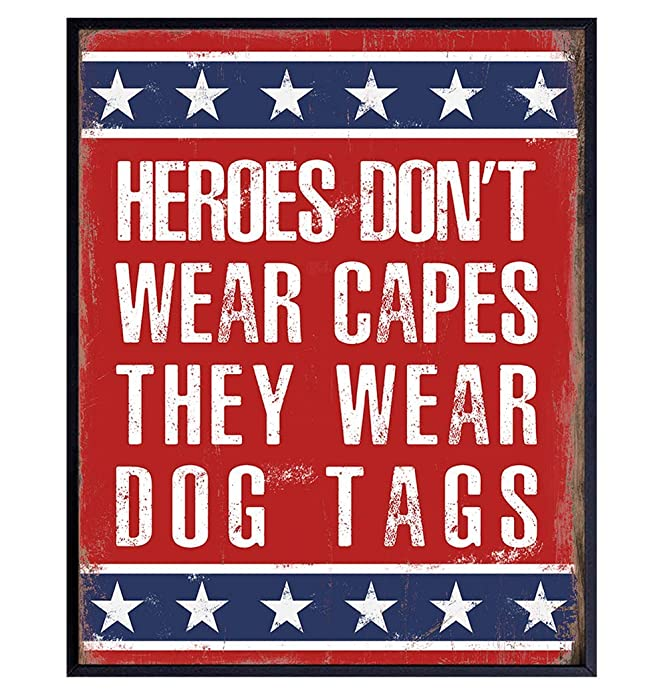 Patriotic Military American Flag Wall Art Home Decor, Room Decoration - Gift for Soldiers, Veterans, Army, Air Force, Marines, USMC, Navy, Coast Guard, Vets, Men, Women - Unframed Poster Sign Plaque