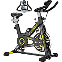 Pyhigh Indoor Cycling Stationary Exercise Bike with Ipad Holder, LCD Monitor (Black)