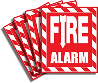 Fire Alarm Sticker Sign - 4 Pack 6x7 Inch - Premium Self-Adhesive Vinyl, Laminated for Ultimate UV, Weather, Scratch, Wate...