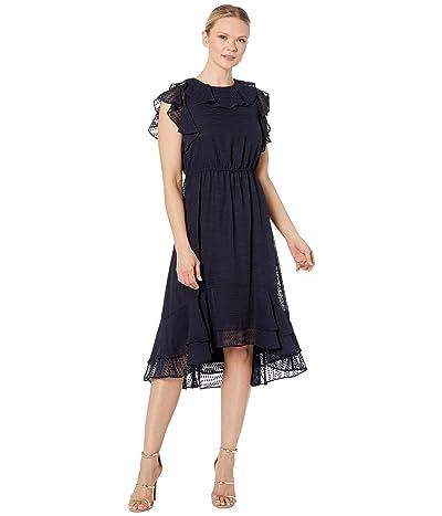 Calvin Klein Chiffon Jacquard Dress with Ruffle Arm and Neck (Indigo) Women