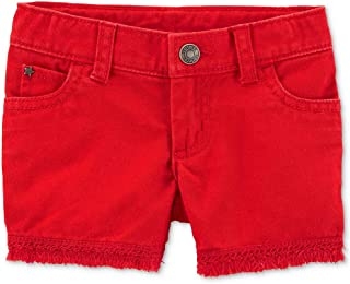 Carter's Toddler Girls Frayed-Hem Cotton Denim Shorts with Adjustable Waistband Size 5T Red