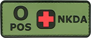 LEGEEON Blood Type NKDA Olive Drab OD PVC Rubber 3D Fastener Patch Combat Tactical No Drugs Allergies