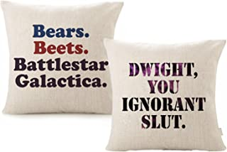 Foozoup Throw Pillow Case The Office Dwight, You Ignorant S. Wedding Decor Farmhouse Style Cotton Linen Cushion Cover with Bears, Beets, Battlestar Galactica Words for Sofa Couch 18 x 18 Inch(2 Pack)