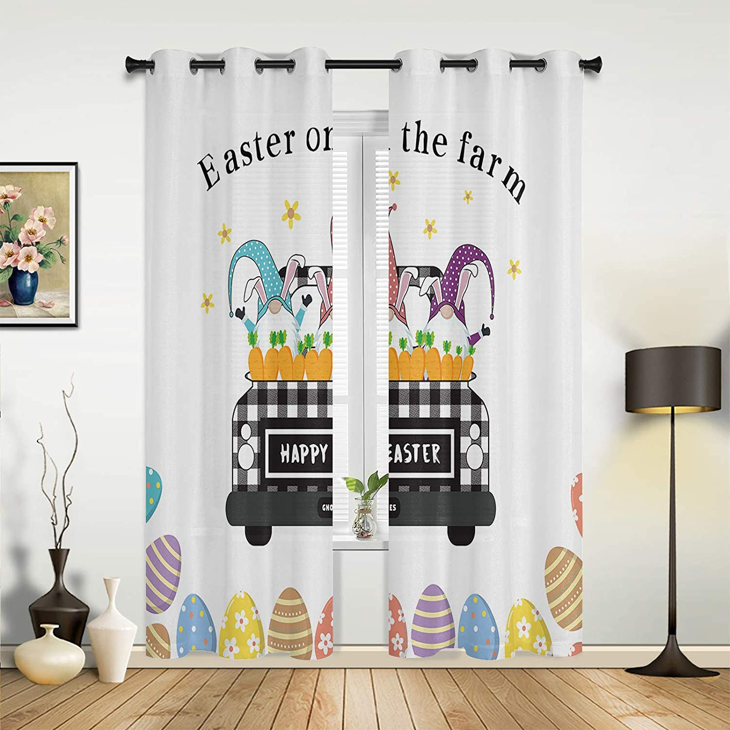 Window Sheer security Curtains for Bedroom Living shipfree Easter Happy Farm Cute