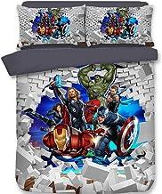 AYMAYO Housse De Couette Marvel The Avengers, Ensemble De Literie Spiderman Captain America Hulk, pour Garçons Et Filles (...