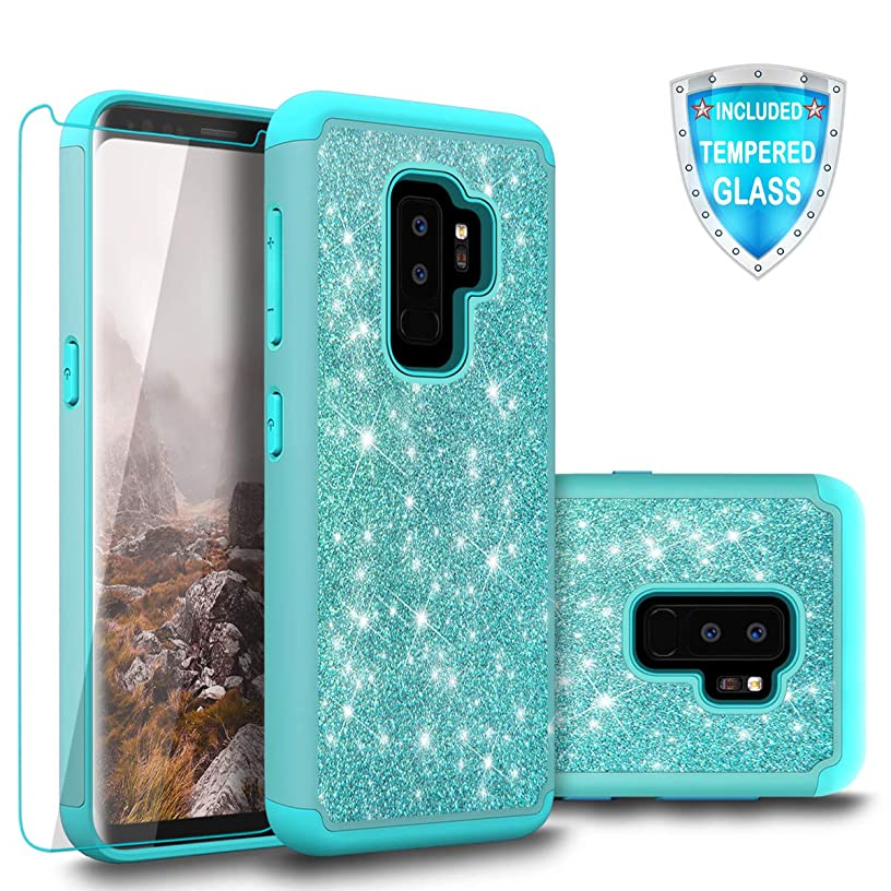 Galaxy S9 Plus Case, Cellularvilla Bling Sparkly Glitter Hybrid Dual Layer Full Body Protective Shockproof Bumper Shell Case with Tempered Glass Screen Protector For Samsung Galaxy S9 Plus (Aqua Blue)