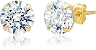 14k Solid Gold ROUND Stud Earrings with Genuine Swarovski Zirconia   0.50 to 3.0 CTW   With Gift Box