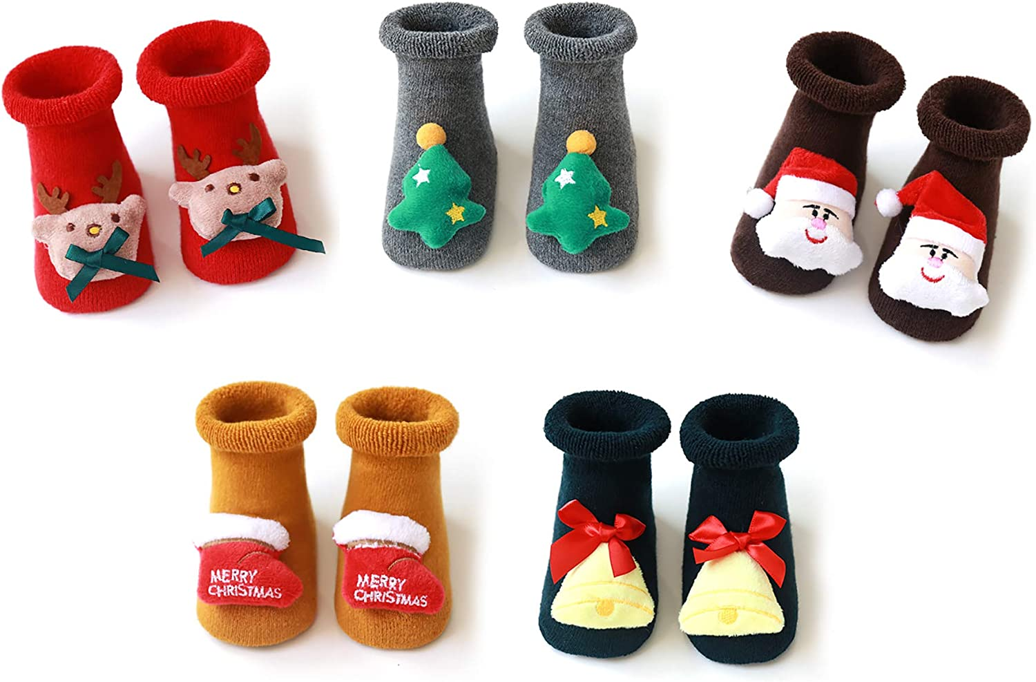 5-Pack 3D Christmas Cartoon Cotton Baby Socks Unisex Infant Toddler Terry Socks With Non Skid Socks For 0-36 Months