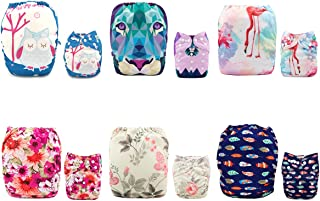 ALVABABY Baby Cloth Diapers One Size Adjustable Washable Reusable for Baby Girls and Boys 6 Pack with 12 Inserts (Sets 6DM10, All in one)