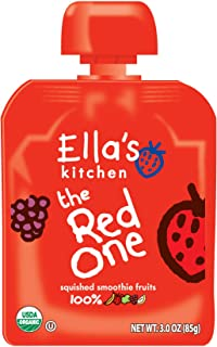 Ella's Kitchen Organic 6+ Months Baby Food, Smoothie Fruit Puree, The Red One, 3 oz. Pouch (Pack of 12)