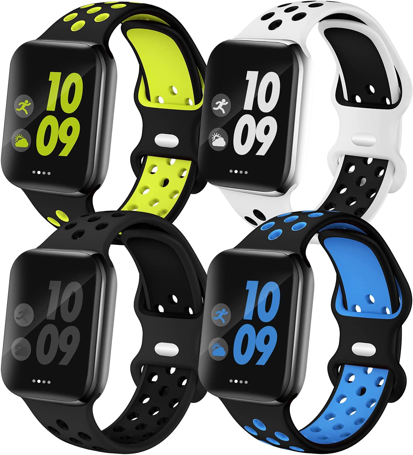 EXCHAR Sport Band Compatible with Apple Watch Band 42mm 44mm 45mm Series 7/6/5/4 Breathable Soft Silicone Replacement Wristband Women and Men for iWatch 42mm Series 3/2/1 Nike+ All Various Styles M/L 4 Pack