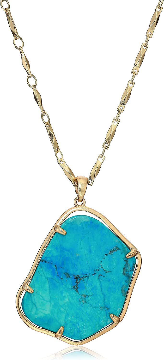 Lucky Brand Turquoise Stone Pendant Necklace, Gold