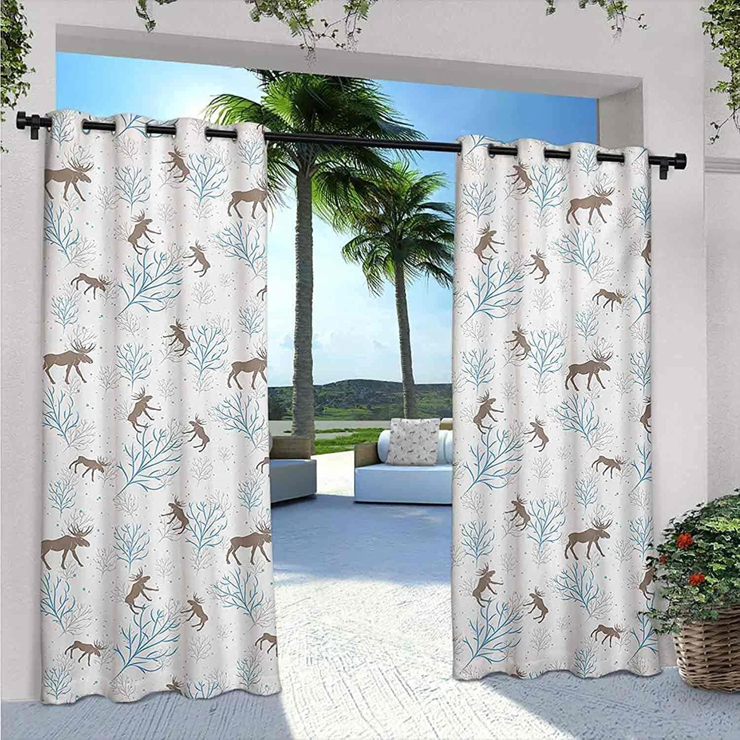 Max 52% OFF Moose Bargain Outdoor Curtains for Patio Forest Retro Winter Waterproof
