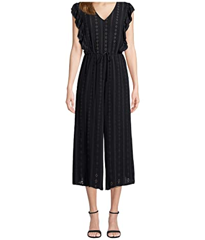 Jack by BB Dakota Embroidered Crepe Jumpsuit with Ruffle (Black) Women