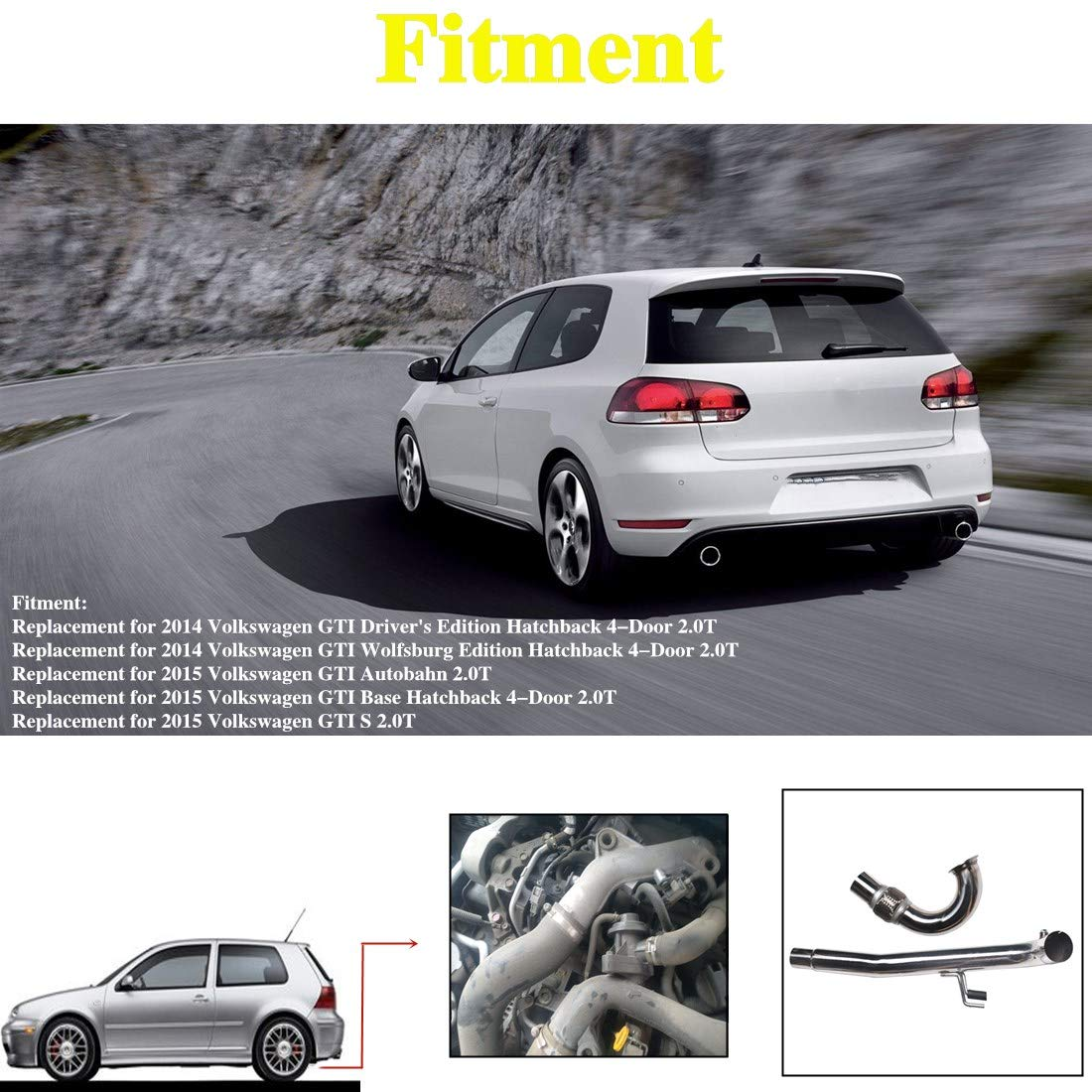 WFLNHB Exhaust System Stainless Steel Exhaust Pipe 2Pcs Kit Replacement for 2014-2015 VW GTI 2.0T MK7 Bolt-on Turbo piping