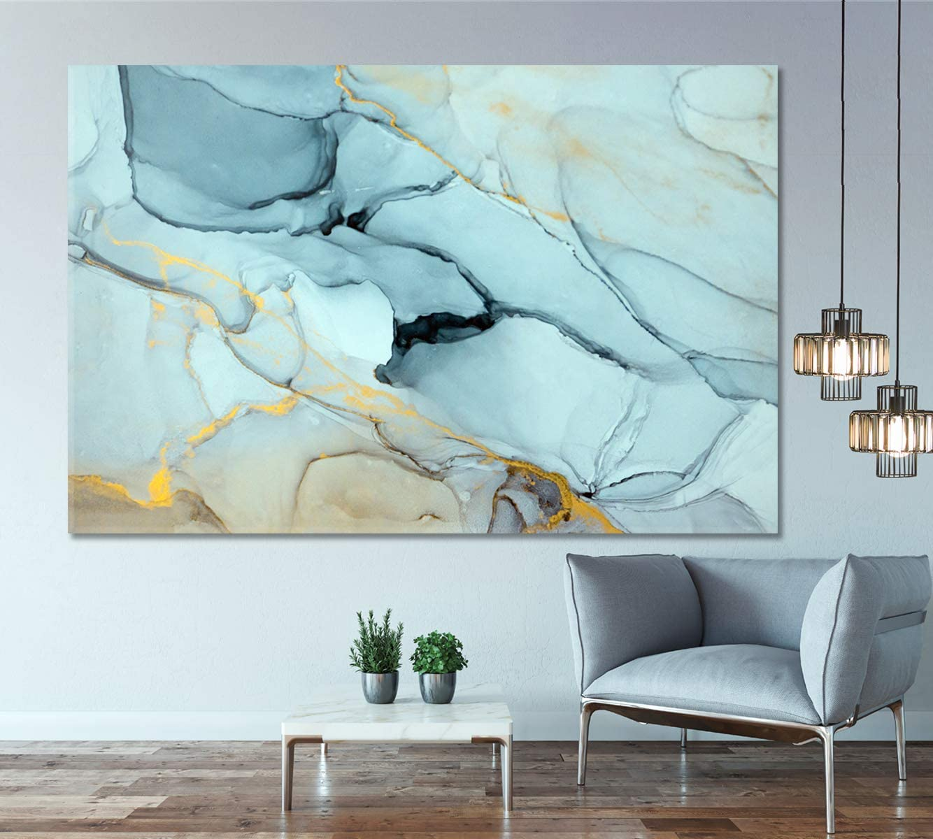 """Amazon.com: Marble Wall Decor, Abstract Marble Canvas Print, Beautiful Abstract Art, Modern Wall Decor, Large Canvas Print, 1 Panel (24""""x16"""") : Everything Else"""