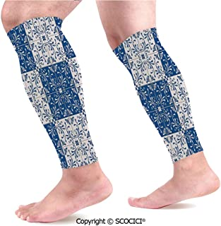 Flexible Breathable Comfortable Leg Skin Protector Sleeve Turkish Portuguese Style Mosaic Ceramic Patterns Country Style Vintage Image Calf Compression Sleeve