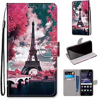 Mylne Full Body Case for Huawei P8 Lite 2017,Colorful Pattern Design PU Leather Flip Wallet Case Cover with Magnetic Closure Stand Card Slot,Tower Flower