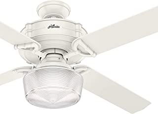 Hunter Fan 60 inch Traditional Fresh White Indoor Ceiling Fan with Light Kit and Remote Control (Renewed)