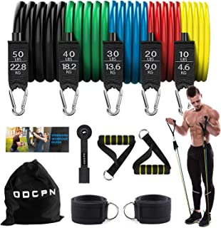 Resistance Bands Set, Exercise Bands Workout Bands with Yellow Handles, Door Anchor, Ankle Straps, 5 Stackable Resistance Bands for Resistance Training, Physical Therapy, Home Workouts, Yoga