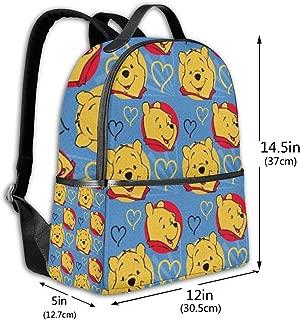 Classic School Backpack Winnie The Pooh Love Unisex College Schoolbag Travel Bookbag Black