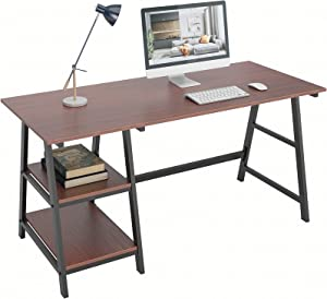 DlandHome Computer Desk with Storage Shelf, Trestle Desk, Home Office Desk/Workstation/Writing Table with Opening Shelves, Tplus (55 inches, Red Walnut)