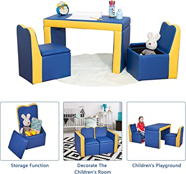 Kinsuite 2-in-1 Multifunctional Armchair Double Sofa Convert to Table and Two Chairs with Couch Storage Box for 3-6 Year Olds