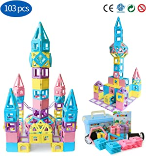 Magblock Magnetic Building Blocks STEM Educational Toys Tiles Set for Boys & Girls Magnet Stacking Block Sets for Kid's Basic Skills Learning & Development Toys-Great Gifts 103PCS