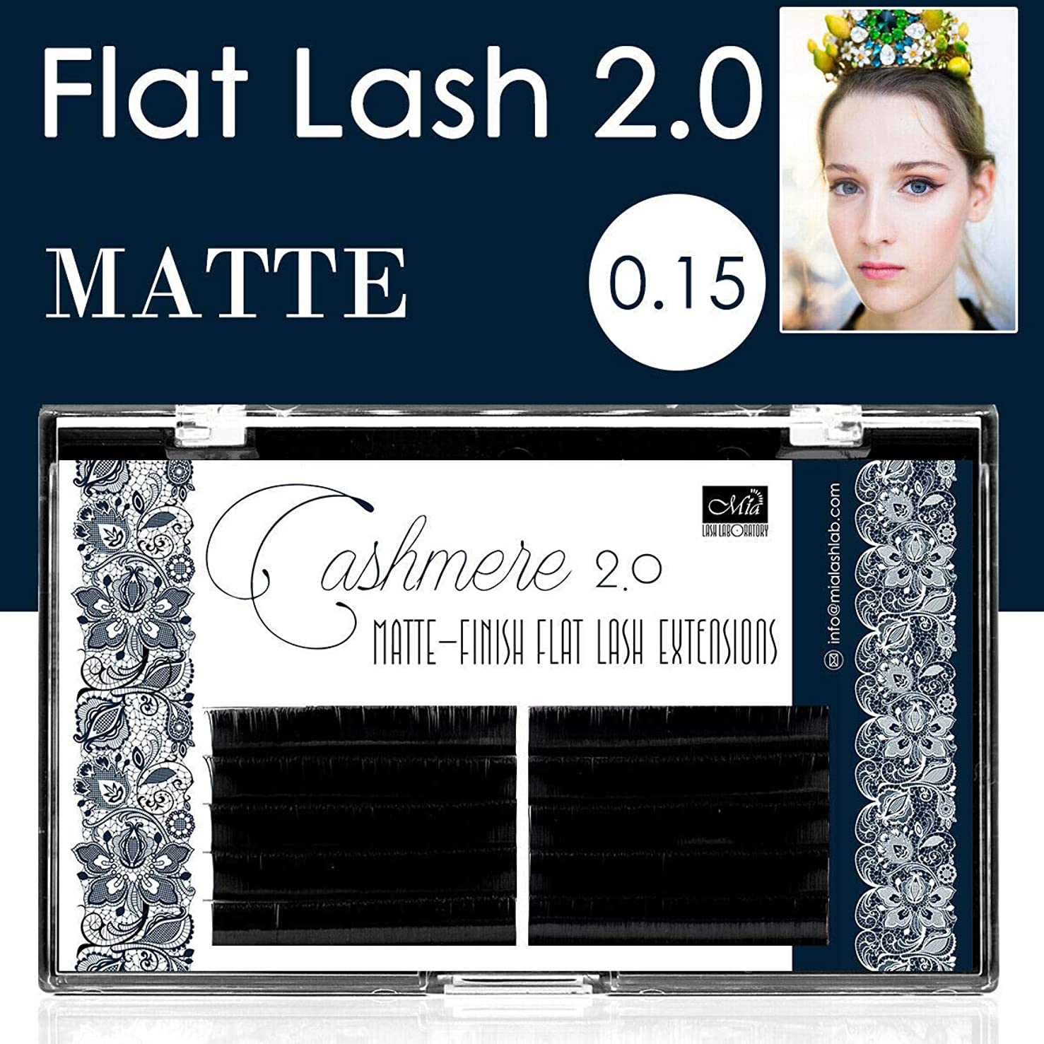 [0.15 C 14mm] MATTE Flat Lash X-Wrap Luxury Individual Eyelash Extensions for Salon Low Tack Tape Light