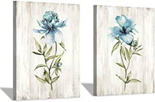 Flower Painting Canvas Wall Art: Blue Botanical Floral Artwork Wildflower Picture Print for Living Room (12'' x 16'' x 2 Panels)