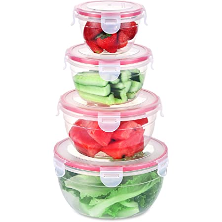 SHOMOTE Food Storage Containers with Lids Airtight, Plastic Stackable Kitchen Bowls for Lunch BPA-Free, Freezer Microwave Dishwasher Safe, Set of 4