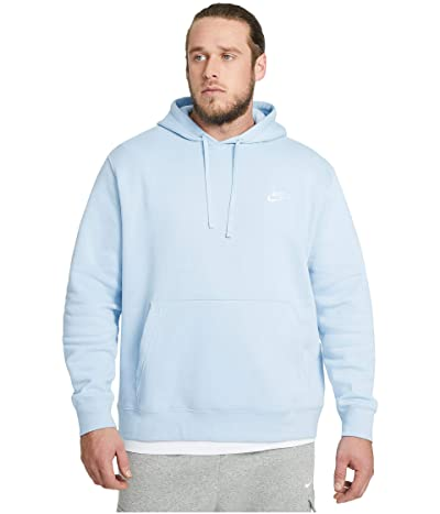 Nike Big Tall NSW Club Hoodie Full Zip (Psychic Blue/Psychic Blue/White) Men